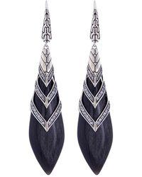 John Hardy - Diamond Silver Cage Obsidian Drop Earrings - Lyst
