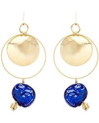 Assad Mounser - 'yves' Porcelain Stone 14k Gold Plated Hoop Earrings - Lyst