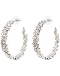 Kenneth Jay Lane - Glass Crystal Pavé Leaf Wreath Hoop Earrings - Lyst