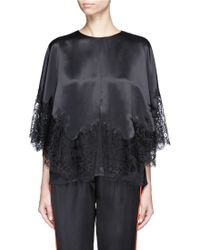 Givenchy - Lace Insert Silk Satin Cape Top - Lyst