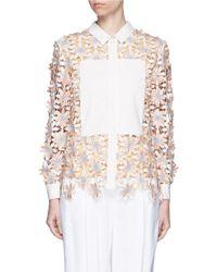 Chictopia - Poplin Trim Floral Lace Appliqué Shirt - Lyst