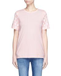 Clu Too - Flocked Polka Dot Sleeve Jersey T-shirt - Lyst