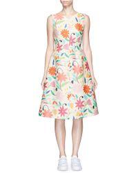 Chictopia - Floral V-back Wool-blend Flared Dress - Lyst