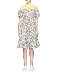 Chictopia - Forest Print Ruffle Hem V-back Dress - Lyst