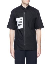 Public School - 'deren' Slogan Patch Short Sleeve Zip Shirt - Lyst