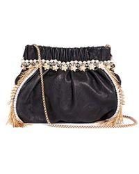 Venna - Zircon Fringe Star Chain Trim Leather Crossbody Bag - Lyst