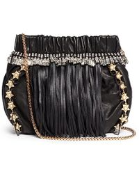 Venna - Pearl Star Chain Fringed Leather Crossbody Bag - Lyst