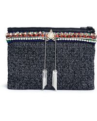 Venna - Star Chain Fringe Embellished Bouclé Clutch - Lyst