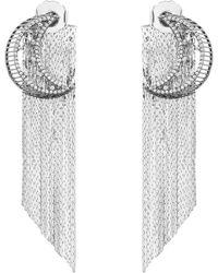 Venna - Strass Pavé Moon Fringe Drop Earrings - Lyst