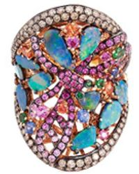 Wendy Yue - Diamond Sapphire Opal 18k Rose Gold Dragonfly Ring - Lyst
