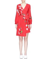 Helen Lee - 'flying Bunny' Print Wrap Crepe Dress - Lyst