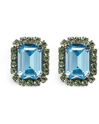 Kenneth Jay Lane - Emerald Cut Stone Glass Crystal Pavé Clip Earrings - Lyst