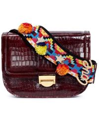 Venna - 'love' Pompom Beaded Strap Leather Satchel - Lyst