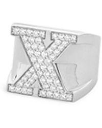 Lynn Ban - 'pavé X' Diamond Sterling Silver Ring - Lyst
