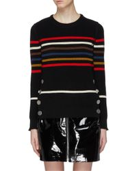 Sonia Rykiel - Mock Button Hem Stripe Sweater - Lyst