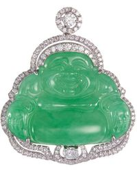 LC COLLECTION - Diamond Jade 18k White Gold Buddha Pendant - Lyst