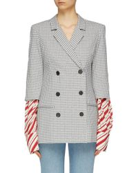 Hellessy - 'truman' Stripe Sleeve Double Breasted Gingham Check Blazer - Lyst