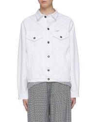 Forte Couture Fringed embroidered swan back denim jacket - Blanco