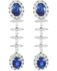 LC COLLECTION - Diamond Sapphire 18k White Gold Drop Earrings - Lyst