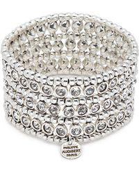 Philippe Audibert - 'asea' Swarovski Crystal Three Row Plate Elastic Bracelet - Lyst