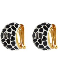 Kenneth Jay Lane - Giraffe Print Enamel Clip Earrings - Lyst