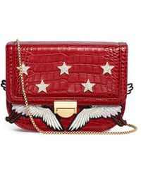 Venna - Cubic Zirconia Star Crane Patch Leather Bag - Lyst