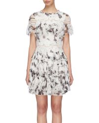 Alice + Olivia - 'paola' Floral Print Tiered Ruffle Dress - Lyst