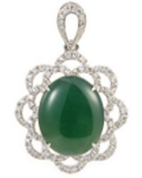 LC COLLECTION - Diamond Jade 18k White Gold Scalloped Pendant - Lyst