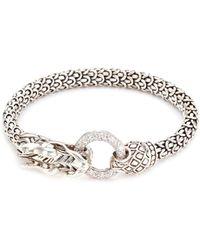 John Hardy - Diamond Silver Scaly Dragon Bracelet - Lyst