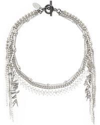 Venna - Glass Crystal Multi Chain Fringe Necklace - Lyst