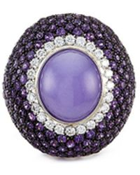 Roberto Coin - Diamond Amethyst Jade 18k Gold Ring - Lyst