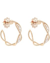 Roberto Coin - 'new Barocco' Diamond 18k Rose Gold Hoop Earrings - Lyst