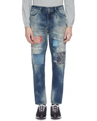 FDMTL - Patchwork Distressed Slim Fit Jeans - Lyst