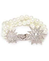 Kenneth Jay Lane | Glass Crystal Pavé Starburst Glass Pearl Bracelet | Lyst