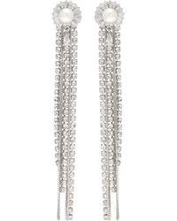 Venna - Floral Stud Glass Crystal Chain Fringe Drop Earrings - Lyst