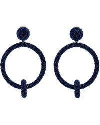 Oscar de la Renta - Beaded Interlocking Hoop Clip Earrings - Lyst