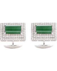 LC COLLECTION - Diamond Jade 18k White Gold Cufflinks - Lyst