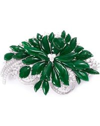 LC COLLECTION | Diamond Jade 18k White Gold Brooch | Lyst