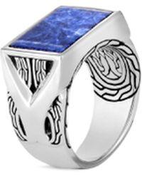 John Hardy - 'asli Classic Chain' Sodalite Silver Signet Ring - Lyst