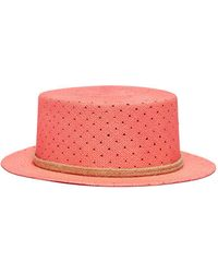 My Bob - Polka Dot Perforated Straw Boater Hat - Lyst