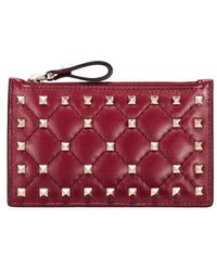 Valentino   'rockstud Spike' Quilted Leather Zip Card Holder   Lyst
