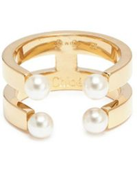 Chloé - 'darcey' Swarovski Pearl Two Row Ring - Lyst