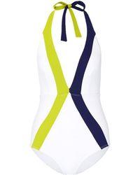 Flagpole Swim - 'jade' Stripe Halterneck One-piece Swimsuit - Lyst