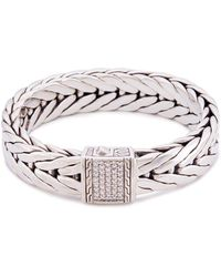 John Hardy - Diamond Silver Medium Weave Effect Link Chain Bracelet - Lyst