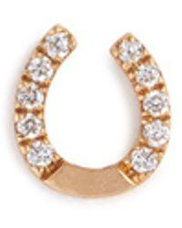 Loquet London | 'horseshoe' Diamond 18k Yellow Gold Single Stud Earring – Protection | Lyst