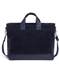 Meilleur Ami Paris - 'petit Ami' Medium Perforated Suede And Leather Tote Bag - Lyst