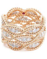Roberto Coin - 'new Barocco' Diamond 18k Rose Gold Three Row Ring - Lyst