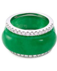 LC COLLECTION   Diamond Jade 18k White Gold Ring   Lyst