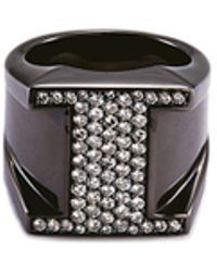 Lynn Ban - 'pave I' Diamond Rhodium Silver Ring - Lyst