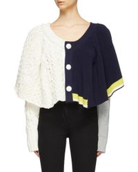 44d19434ce Sacai - Drape Colourblock Mix Knit Cropped Cardigan - Lyst
